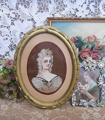 Stunning Vintage Antique Victorian Lady Needlepoint Oval Frame - Romantic Chic