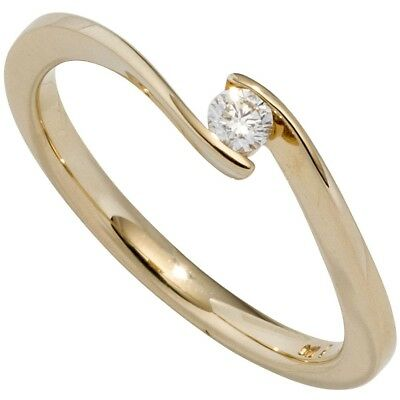 Ladies Ring Solitaire with Diamond 0.20ct 585 Gold Yellow Gold