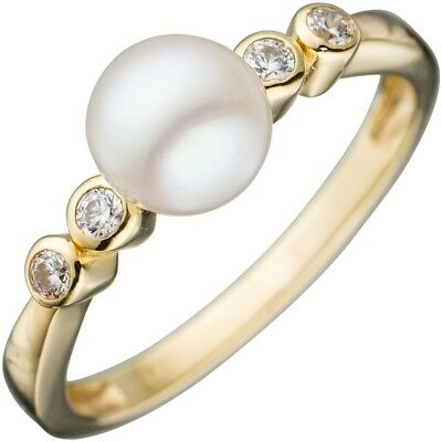 Ladies Ring Gold with white Pearl & Zirconia 333 Yellow