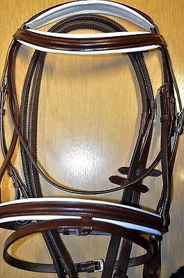 High Quality  Leather Comfort Bridle With White Padding.3 Sizes Black/brown