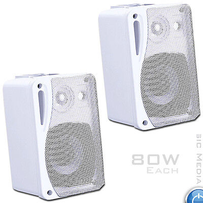 80W Moisture Resistant Wall Speakers ideal for Bathroom Kitchen 4 Ohm WHITE