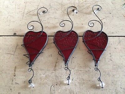 SET of 5 ~ HEART Ornaments (Stain Glass Looking) ORNAMENT ~ WINDOW ~ GIFT BOW