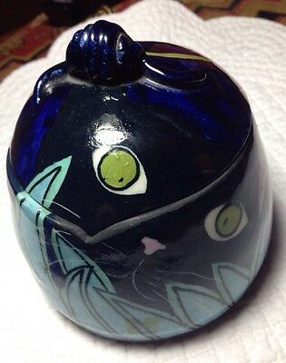 Vintage OOAK signed/dated studio art pottery trinket box multi-color cat theme