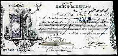 Spain: Banco de Espana, Madrid, bill of exchange, 1896, payable in Barcelona