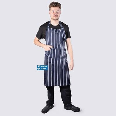 3 X Woven Deluxe Navy & White Pin Stripe Chefs Bib Aprons with Pocket
