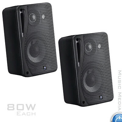 80W Moisture Resistant Wall Speakers ideal for Bathroom Kitchen 4 Ohm BLACK