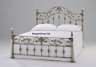 New Luxury Double 4'6ft Brass Bed Frame Bedstead Brass CRYSTAL FINIALS