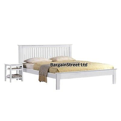 NEW White Wooden Double 4'6ft Shaker Low Footend  Bed Frame Kids Adults