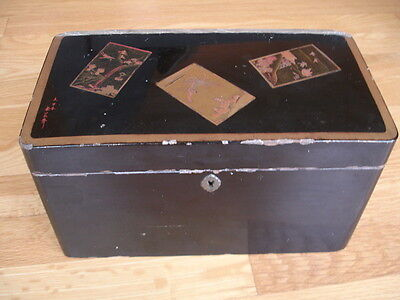 Large Antique Japanese Asian Lacquer Box Signed