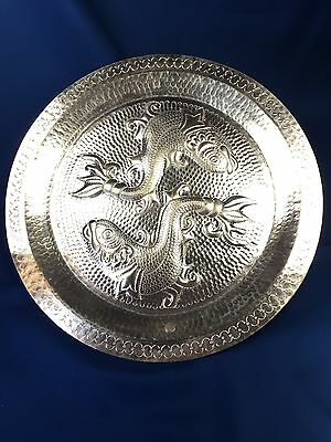 Vintage Large Mexican Hammered Embossed Copper Tray Plate Wall Hanging