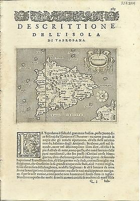 Antique maps, Taprobana [Porcacchi, 1576]