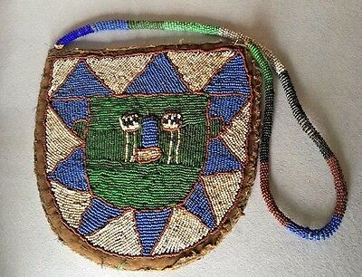 Antique Beaded Yoruba Diviners Bag From Nigeria Africa