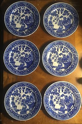 6) Vintage Johnson Brothers BLUE WILLOW Saucer Plates JAPAN