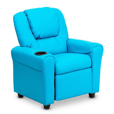 Premium Kids Children Leather Recliner Lounge Chair Sofa With Drink Holder Blue