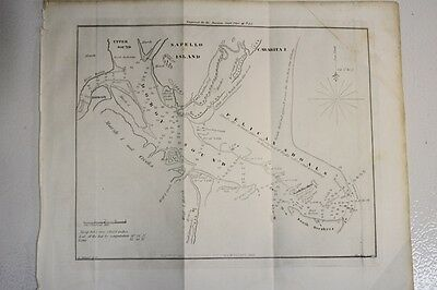 Antique E & GW Blunt Nautical Map-Doboy Sound, Sapello Is. nr St. Simons GA 1850