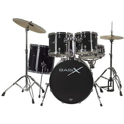 BASIX 5pce DRUM KIT WITH CYMBALS & THRONE DOUBLE BRACED HARDWARE-BLK