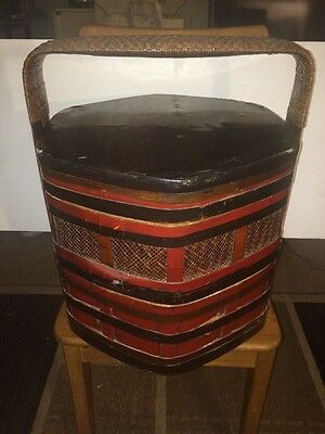 Antique Chinese Large Tiered Stacking Wood Wedding Basket Hand Painted Lacquered
