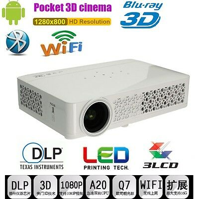 6000Lumen 4K HD 1080P DLP800 Wifi 3D Mini Projector Multimedia Home Theater HDMI