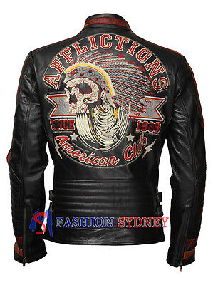 Motor Club Black Biker Cowhide Leather Jacket with 3D Embroidery + Free Shipping