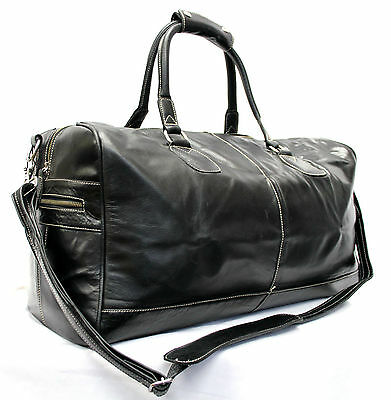 Large Black Cowhide Duffle, Holdall, Travel,sports Gym Weekend Leather Bag