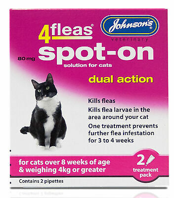 JOHNSONS 4FLEAS CAT OVER 4kg SPOT-ON DUAL ACTION TREATMENT KILL FLEAS & LARVAE
