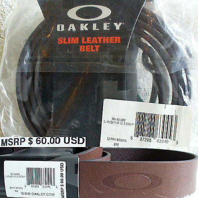 Oakley Leather Belt Strap - Slim Earth Brown (96143-899 $60) NEW Authentic FShip