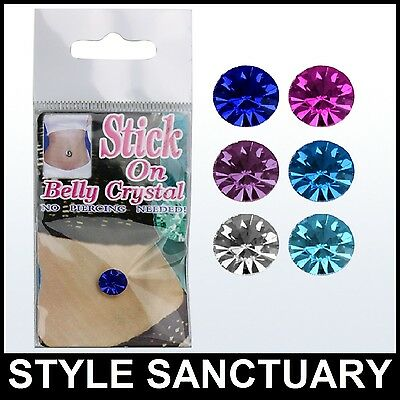 Fake Stick-on Belly Navel Crystal Body Jewellery Piercing Bar Ring Fancy Dress