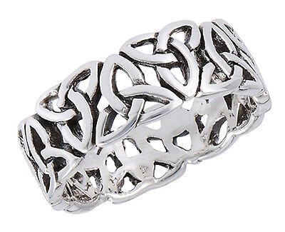 Mens 925 Sterling Silver Endless Triquetras Celtic Eternity Ring  - 7mm Wide