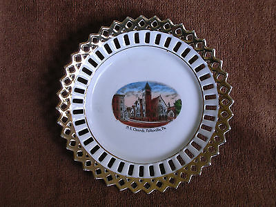 Pottsville PA/M.E. Church/Made in Germany Pierced Gilt Border Souvenir Plate