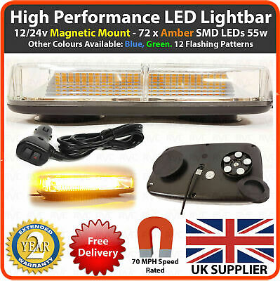Amber LED 12/24v Lightbar Magnetic Flashing Beacon Recovery Light Strobe