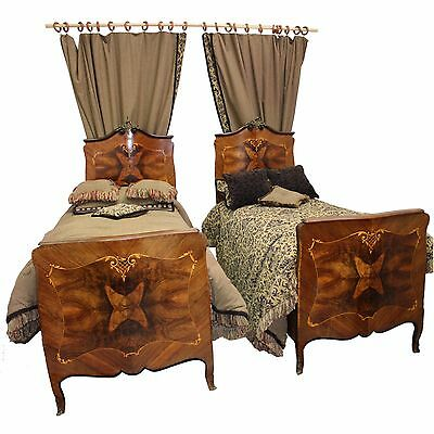 Pair of 1900s Louis XV Beds w/ Custom Bedding, Mattresses, Stools & Draperies