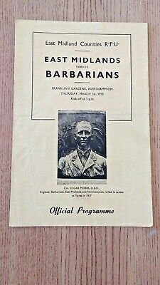 East Midlands v Barbarians 1973 Signed Rugby Programme