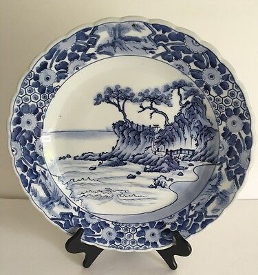 """Antique Asian Japanese Chinese White & Blue Imari Charger Large Plate 16"""" Signed"""