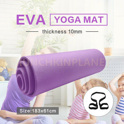 10mm EVA EXERCISE YOGA MAT HOME GYM 10MM THICK PHYSIO FITNESS PURPLE FREE BAG