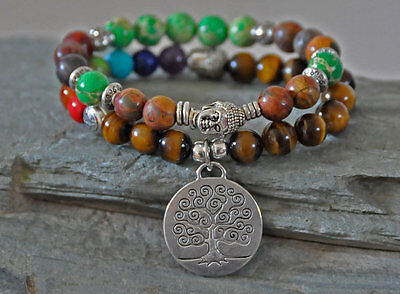 Set of 2 Tree of Life Buddha Gemstone Bracelet,7 chakra mala tiger's eye Jasper