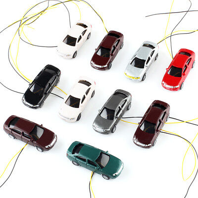 New 10Pcs/set OO Scale 1:75 Flaring Light Painted Mini Model Cars with Wires