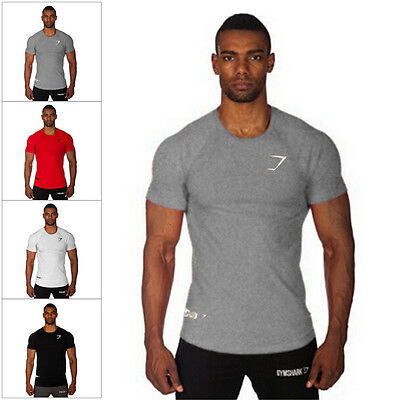 New Mens T Shirt Cotton Slim Fit Muscle Top Short Sleeve Plain Training Fitness