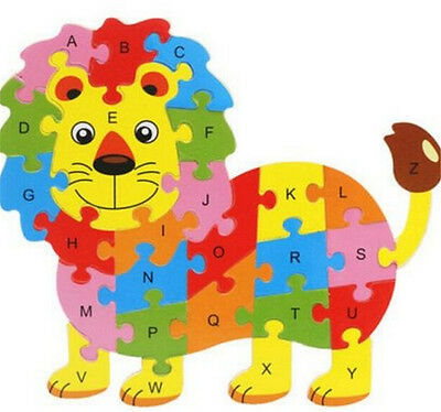 FD3450 Wooden Blocks Kid Child Educational Alphabet Puzzle Jigsaw Toy ~Lion~^