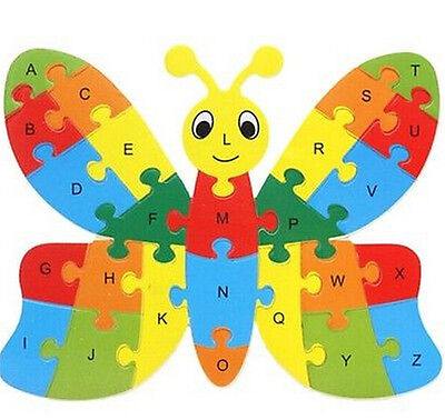 FD3451 Wooden Blocks Kid Child Educational Alphabet Puzzle Jigsaw Toy Butterfly^