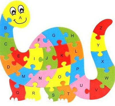 FD3452 Wooden Blocks Kid Child Educational Alphabet Puzzle Jigsaw Toy ~Dinosaur^