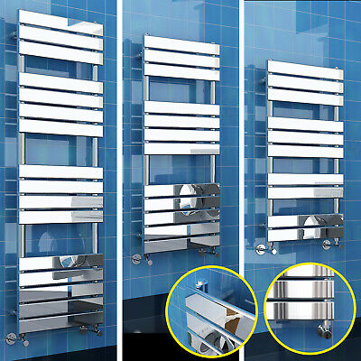 Chrome Bathroom Flat Panel Ladder Designer Heated Towel Radiator Straight Rail