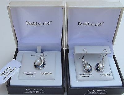 Swarovski PearlN Ice Sterling Silver/Freshwater/Crystal Drop Earrings or Pendant