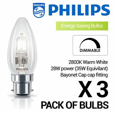 3 x Philips 28W (35W) B22 Bayonet Cap Halogen Candle Bulb Warm White Dimmable -
