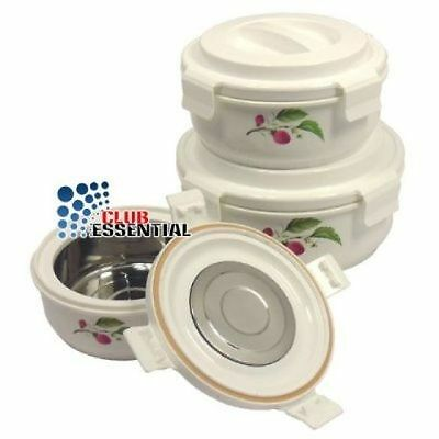 3pc Hot&Lock Pot Insulated Food Warmer, Perfect Locking Travel friendly