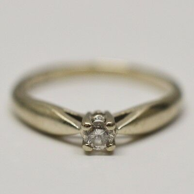 10k White Gold Solitaire Diamond 0.08 ct Ring Size 5