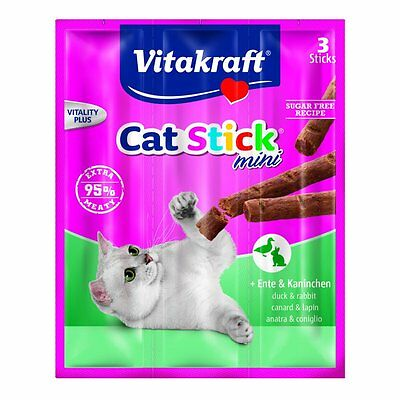 Vitakraft Snack pour chats cat-stick MINI- CANARD & Lapin - 60 x 6g - Bâtons
