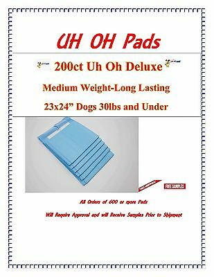 "23x24"" 200ct Deluxe Uh Oh TRAINING 3x Pad  PEE PIDDLE PADS  FREE SAMPLES"