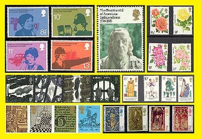 1976 All Commemorative Issues of Great Britain each Sold Separately Mint nh