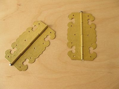 Pair of ornamental decorative brass hinges 75mm