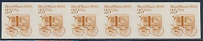 "#2136a ""BREAD WAGON"" IMPERF ERROR STRIP OF 6 WITH PLATE NO. 2 BS9604"